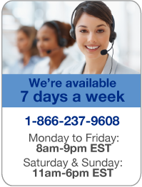We're available to take your call 7 days a week - Monday to Friday between 8:00am and 9:00pm (EST) plus Saturday & Sunday between 11:00am and 6:00pm (EST).